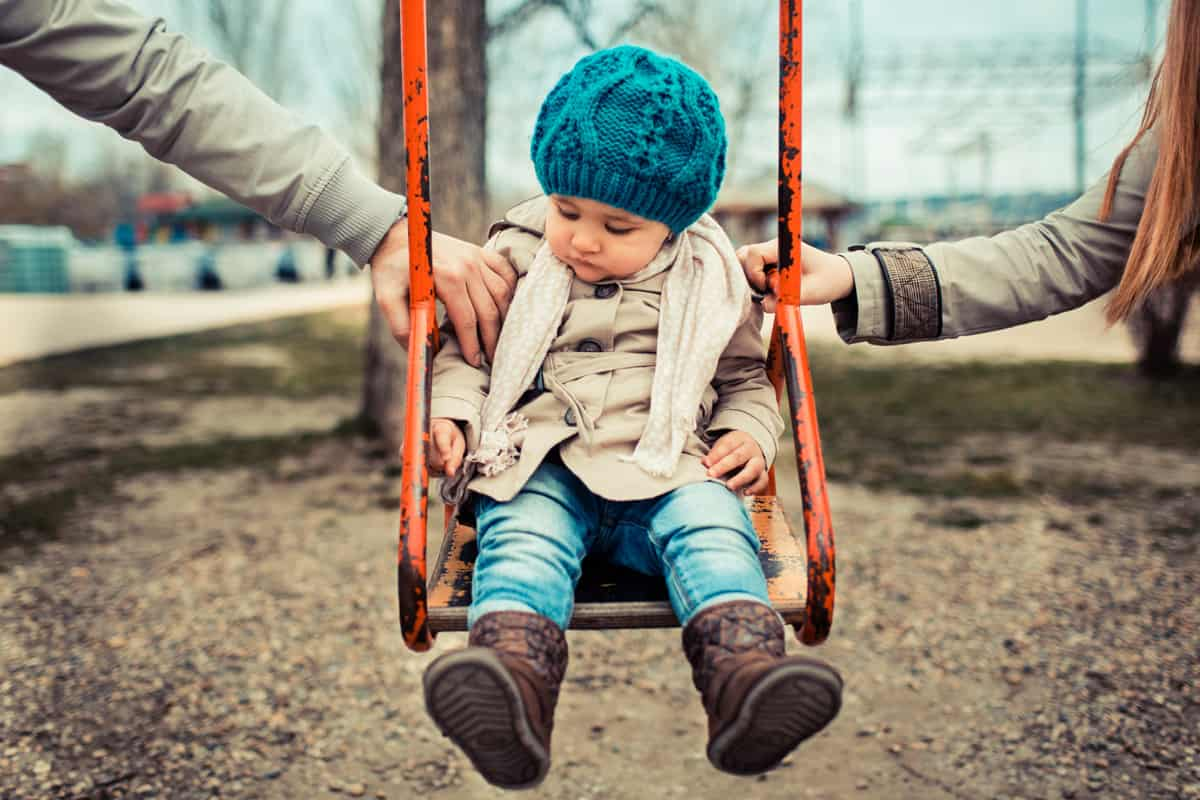 A young child in a swing